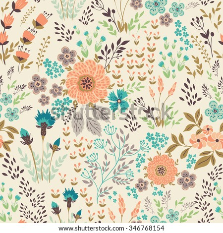 Seamless vector floral pattern, spring/summer backdrop. Hand drawn surface pattern design  with flowers in garden. Seamless texture can be used for wallpapers, pattern fills, surface textures. - stock vector