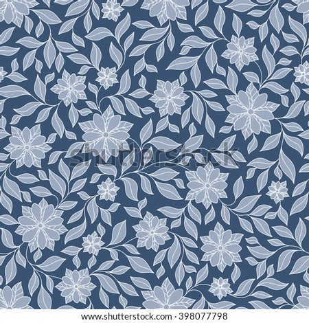 Seamless vector floral pattern with colorful fantasy plants and flowers, pattern can be used for wallpaper, pattern fills, web page background, surface textures