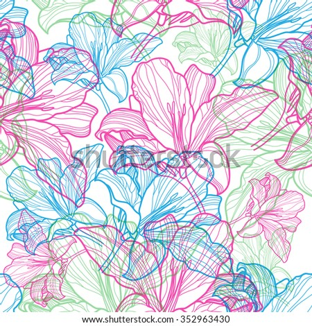 Seamless vector floral pattern with colorful flowers