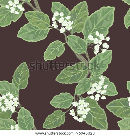 Seamless vector floral pattern with cute delicate flowers and leaves - stock vector