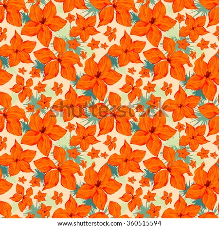 Seamless vector floral pattern with five-petal orange flowers on champagne (light yellow) background with green elements