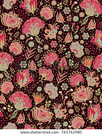 Seamless vector floral pattern with stylized  rose and chrysanthemum flowers on dark background