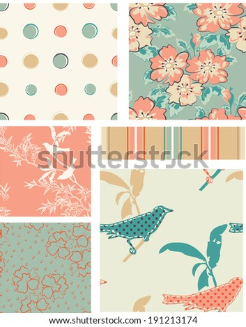Seamless Vector Floral Patterns. Use as fills, digital paper, or print off onto fabric to create unique items. - stock vector