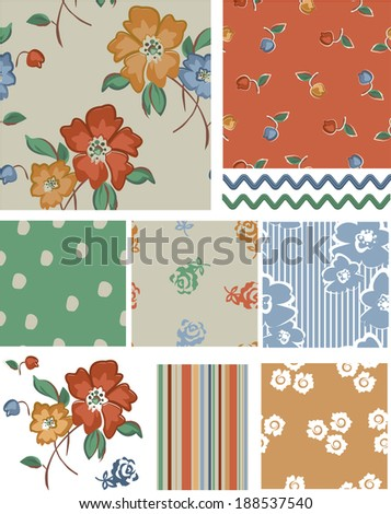 Seamless Vector Floral Rose Patterns and Icons. Use as fills, digital paper, or print off onto fabric to create unique items. - stock vector