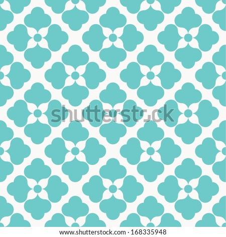 Seamless vector flower pattern on white background - stock vector