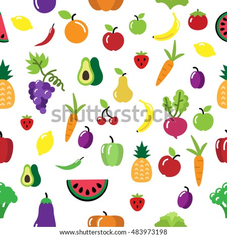 Seamless vector fruit and vegetable pattern. Fruit and vegetable repetitive background. Avocado, banana, carrot, watermelon, apple, beet root, orange, aubergine, tomato, pumpkin. Vector illustration.