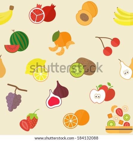 Seamless vector fruit pattern - stock vector