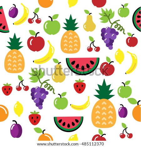 Seamless vector fruit pattern isolated on white background. Apple, pineapple, watermelon, banana, grapes, orange, cherry, strawberry, cherry, plum. Repeating fruit background.