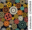 Seamless vector gear and cogwheel retro color background - stock vector