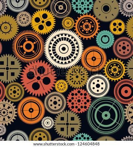 Seamless vector gear and cogwheel retro color background - stock vector