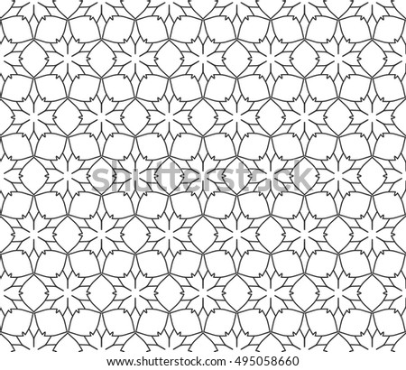 Seamless vector geometric background in arabian style. Islamic pattern, ethnic ornament. Endless hexagonal texture for wallpaper, banners, invitation cards. Black and white graphic lace background