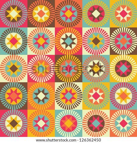 Seamless vector geometric Ethnic pattern background - stock vector