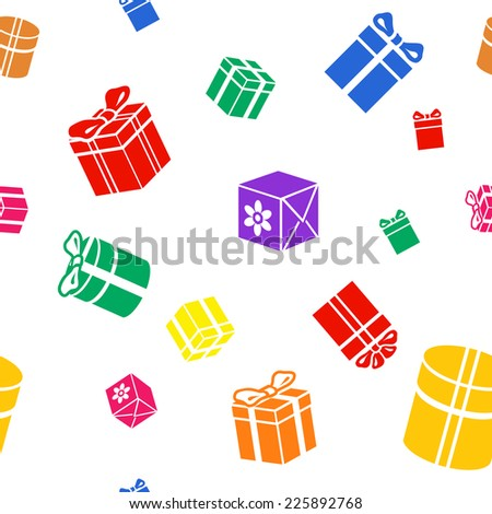 Seamless vector Gift pattern, colored red blue yellow green gift boxes on white background - stock vector