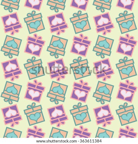 Seamless vector Gift pattern, gift boxes with hearts. Valentine's day background - stock vector