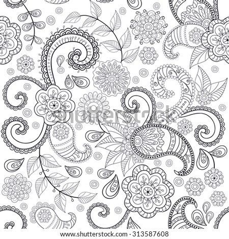 Seamless vector hand drawing ethnic pattern, pattern can be used for wallpaper, pattern fills, surface textures . Black and white - stock vector