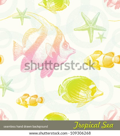 Seamless vector hand drawn background - tropical fishes - stock vector
