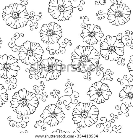 Seamless vector  hand drawn floral  pattern, pattern can be used for wallpaper, pattern fills, surface textures .Black and white  - stock vector