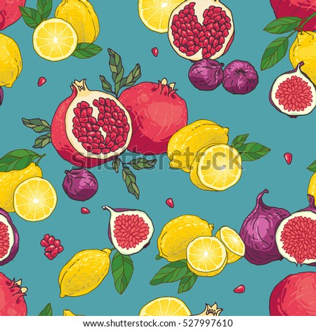 Seamless vector hand drawn juicyfruits pattern