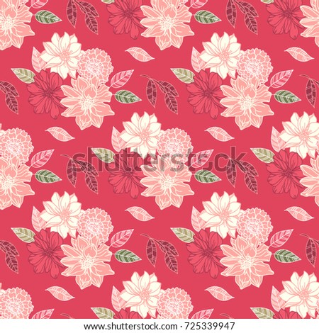 Seamless vector hand drawn pattern of blossoms and fresh branches. Floral contour background for textile or book covers, design, graphic art, printing and hobby, invitation