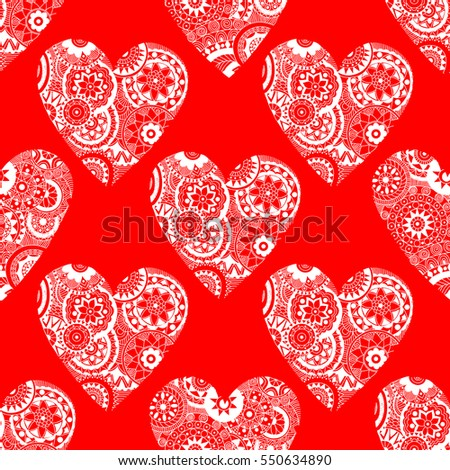 Seamless vector hand drawn pattern with doodle hearts.