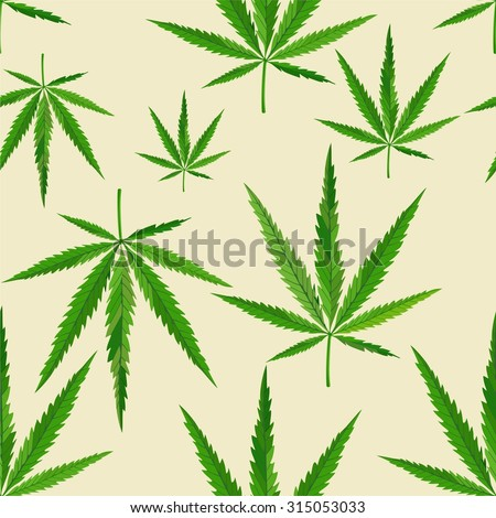 Seamless vector hemp leaves pattern