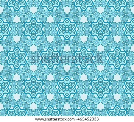 Seamless vector illustration of a light floral design made in the form of abstract geometric patterns. For the design, printing, greeting cards. Blue.