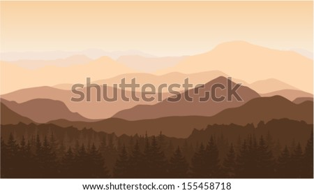 Seamless vector illustration of the mountains in the fog - stock vector