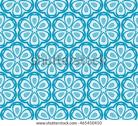 Seamless vector illustration with abstract flowers derived from the transformation of the circles. For the design, printing, greeting cards. Blue.