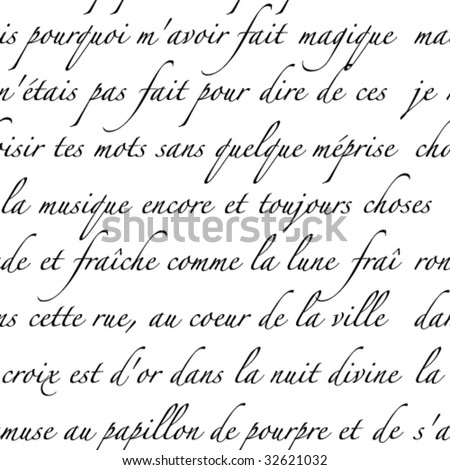 Seamless vector in any direction. Generic script in French. - stock vector