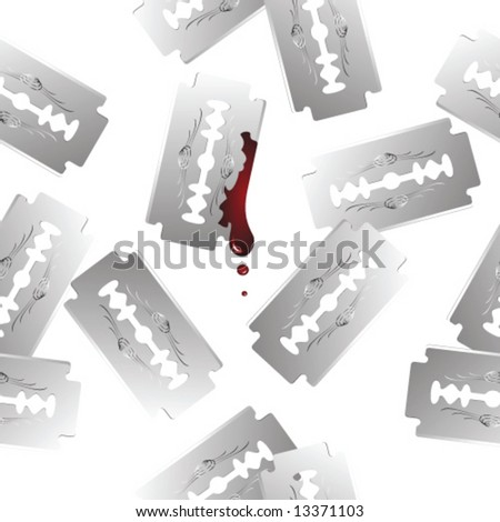 Seamless vector in any direction. Scattered realistic razor blades. One blade has drops of blood on it. - stock vector