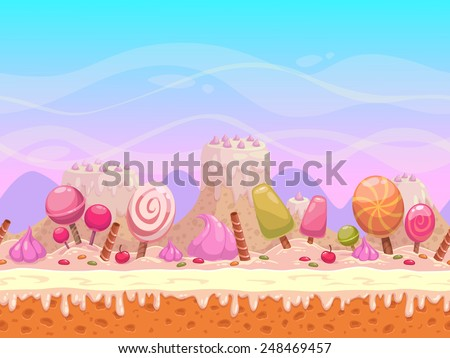 Seamless vector landscape with layers for parallax effect. Candyland illustration for game design