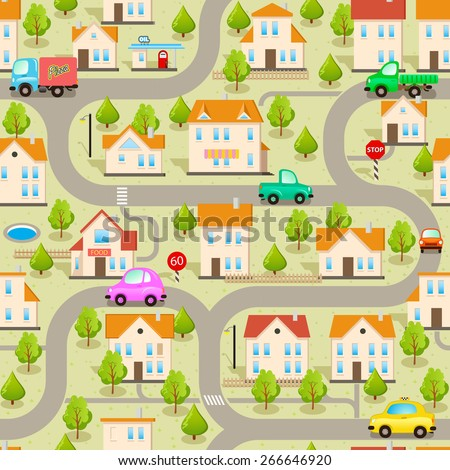 Seamless Vector Maze Game Background. Funny Wallpaper: Cars, Streets and Buildings. Map of Cartoon Small Town - stock vector
