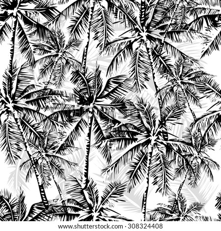 Seamless vector monochrome tropical pattern depicting black palm tree on a white background - stock vector