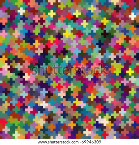 Seamless vector multicolor puzzle block background - stock vector