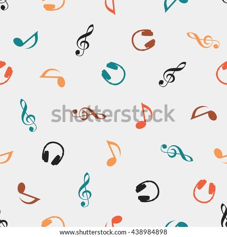 Seamless vector musical pattern - Quaver Notes, headphones, treble clef - stock vector