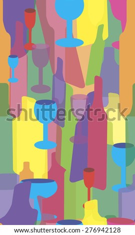 Seamless vector of bottles and glasses
