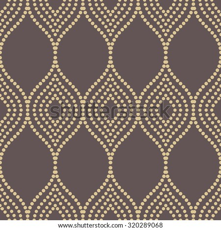 Seamless vector ornament. Modern stylish geometric pattern with repeating golden dotted waves