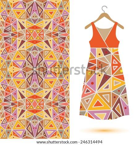 Seamless vector ornamental fashion pattern. Dress on a hanger - stock vector