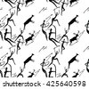 Seamless vector pattern about hunting with primitive figures. People, deers, cows, arrows. - stock vector