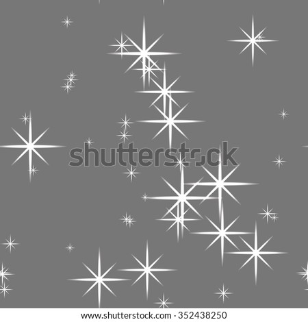 Seamless vector pattern. Abstract Christmas glittering background with stars.