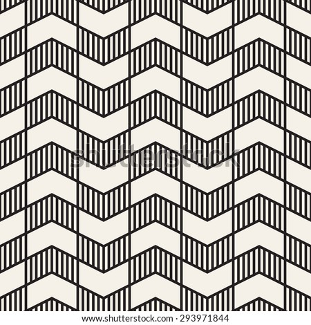 Seamless vector pattern. Abstract geometric background. Rhythmic zigzag structure. Monochrome stylish texture with chevron. - stock vector