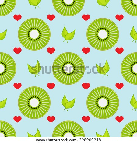 Seamless vector pattern. Abstract round flower, heart, leaf in flat style. Element for design wallpaper, background, textile. Simple minimalistic geometric shapes. Green, red, blue - stock vector