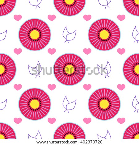 Seamless vector pattern. Abstract round flower, heart, leaf in flat style. Element for design, background, textile. Simple minimalistic geometric shape - stock vector