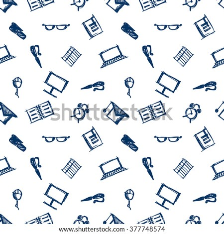 Seamless vector pattern, background notebooks, pens, pencils, glasses and books on the white backdrop. Hand sketch drawing. Imitation of ink pencilling. Series of Hand Drawn Patterns. - stock vector