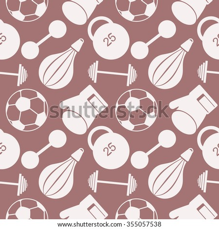 Seamless vector pattern.  Background with  closeup sports equipment. Soccer ball, punching bag, gloves, barbells, dumbbells and weight. - stock vector