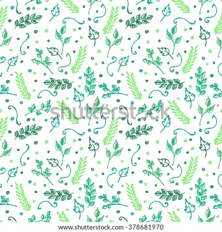 Seamless vector pattern, background with colorful branches and leaves on the white backdrop. Hand sketch drawing. Imitation of ink pencilling. Series of Hand Drawn Patterns.