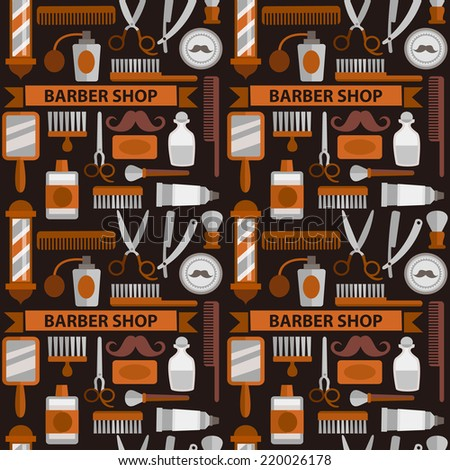 Seamless vector pattern barbershop  tin shades of brown - stock vector