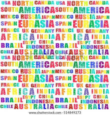 Seamless vector pattern bright colorful words and letters depicting continents and countries of the world. Bright multicolored image on a white background.