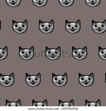 Seamless vector pattern cats - stock vector