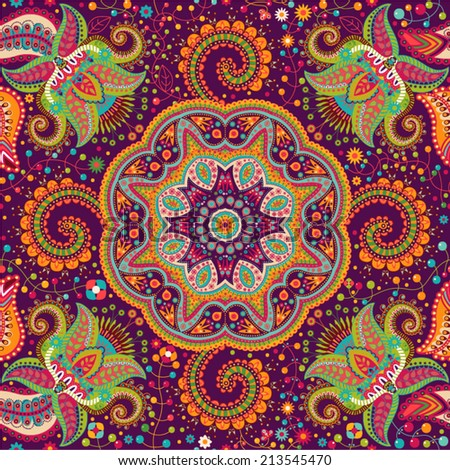 Seamless vector pattern. Colorful ornamental background